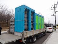 仮設トイレ運搬時車両
